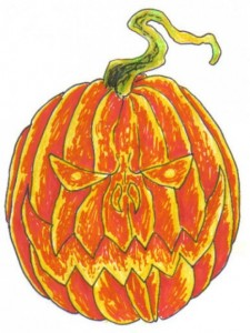 Wayne Tully Scary Pumpkin Drawing
