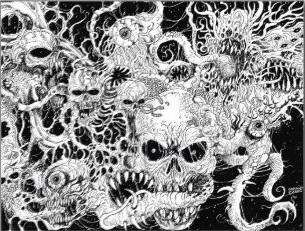 Evil Death Spawn Illustration Postcards