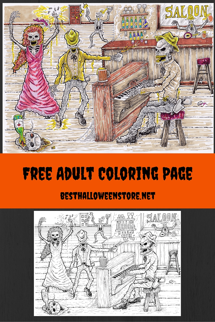 Free Adult Coloring Page Spooky Saloon