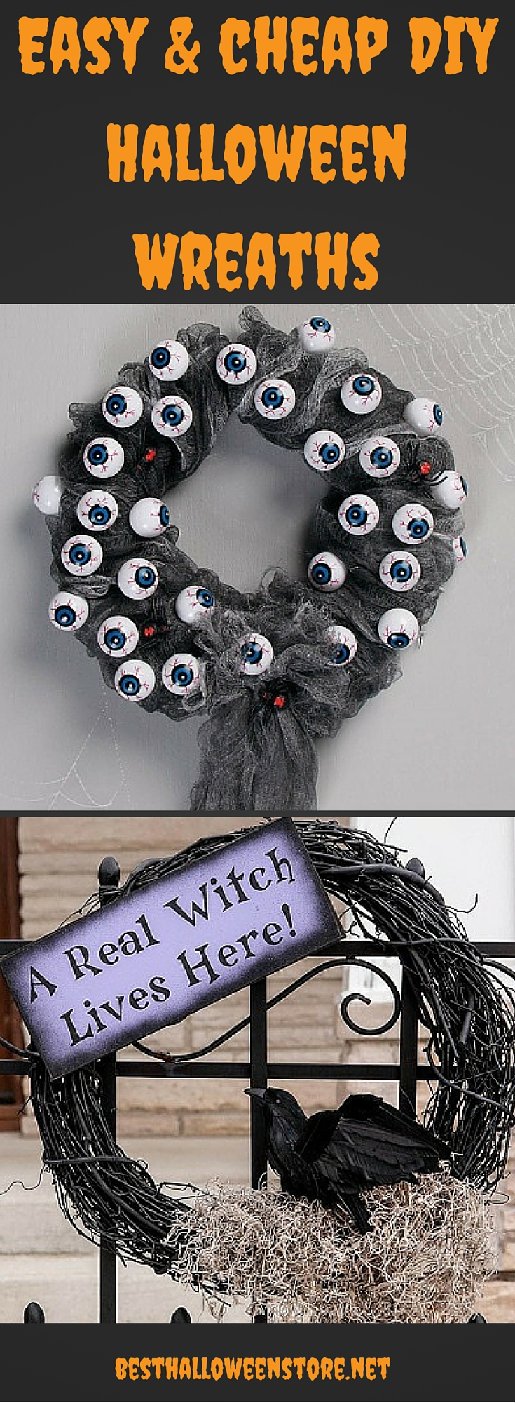Easy and Cheap DIY Halloween Wreaths
