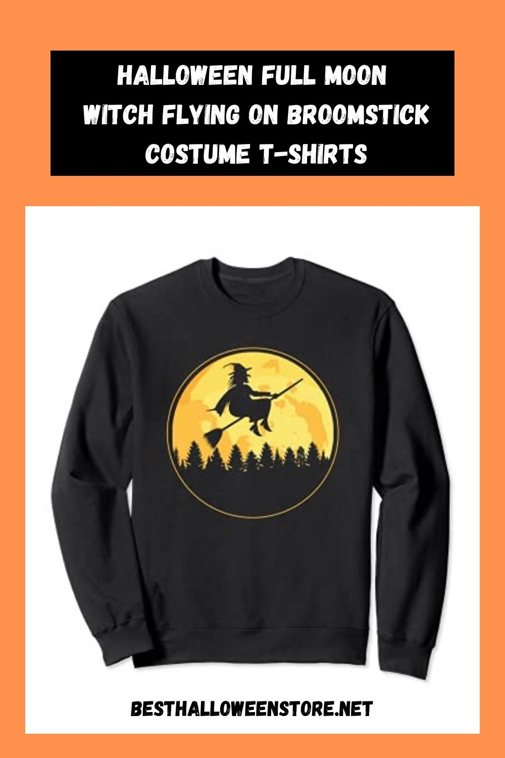 Halloween Full Moon Witch Flying on Broomstick Costume T-Shirts