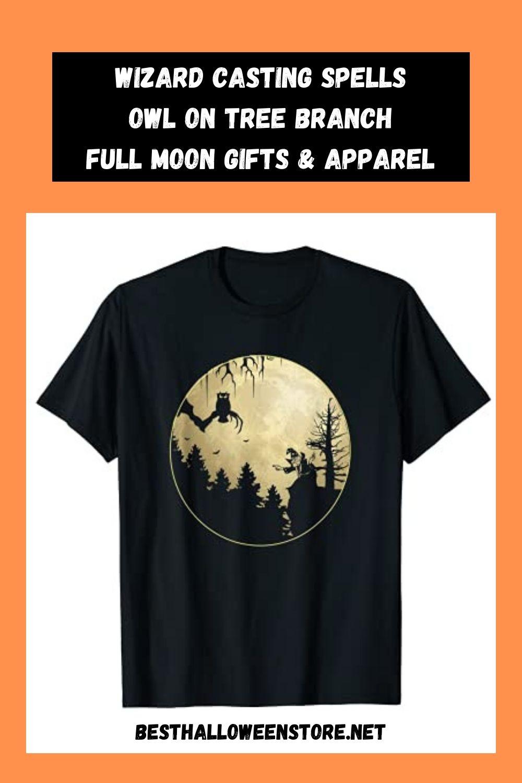 Halloween Wizard Casting Spells Owl on Tree Branch Full Moon Gifts & Apparel